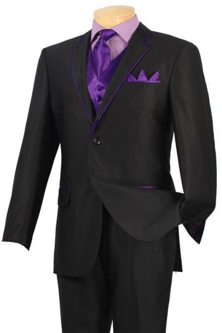 BlackandPurple Black Suit With Purple Tie And Shirtpower Turn On
