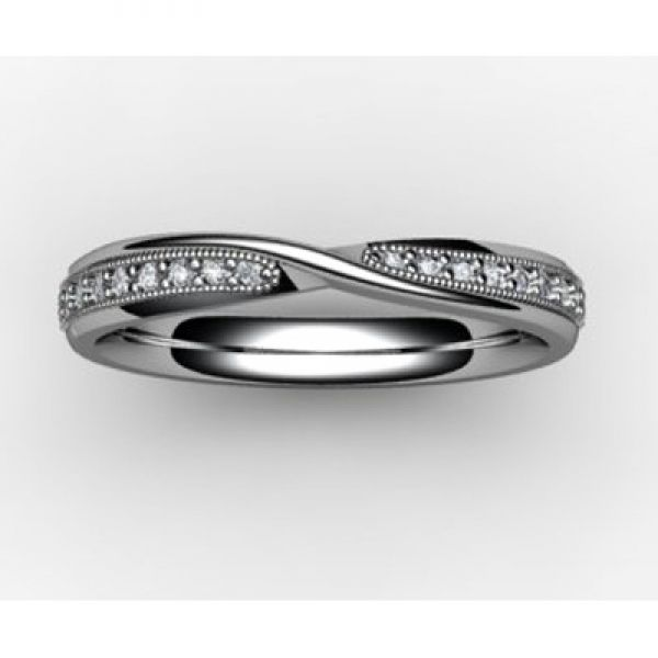 18ct White Gold Shaped Diamond Wedding Ring Wedding rings