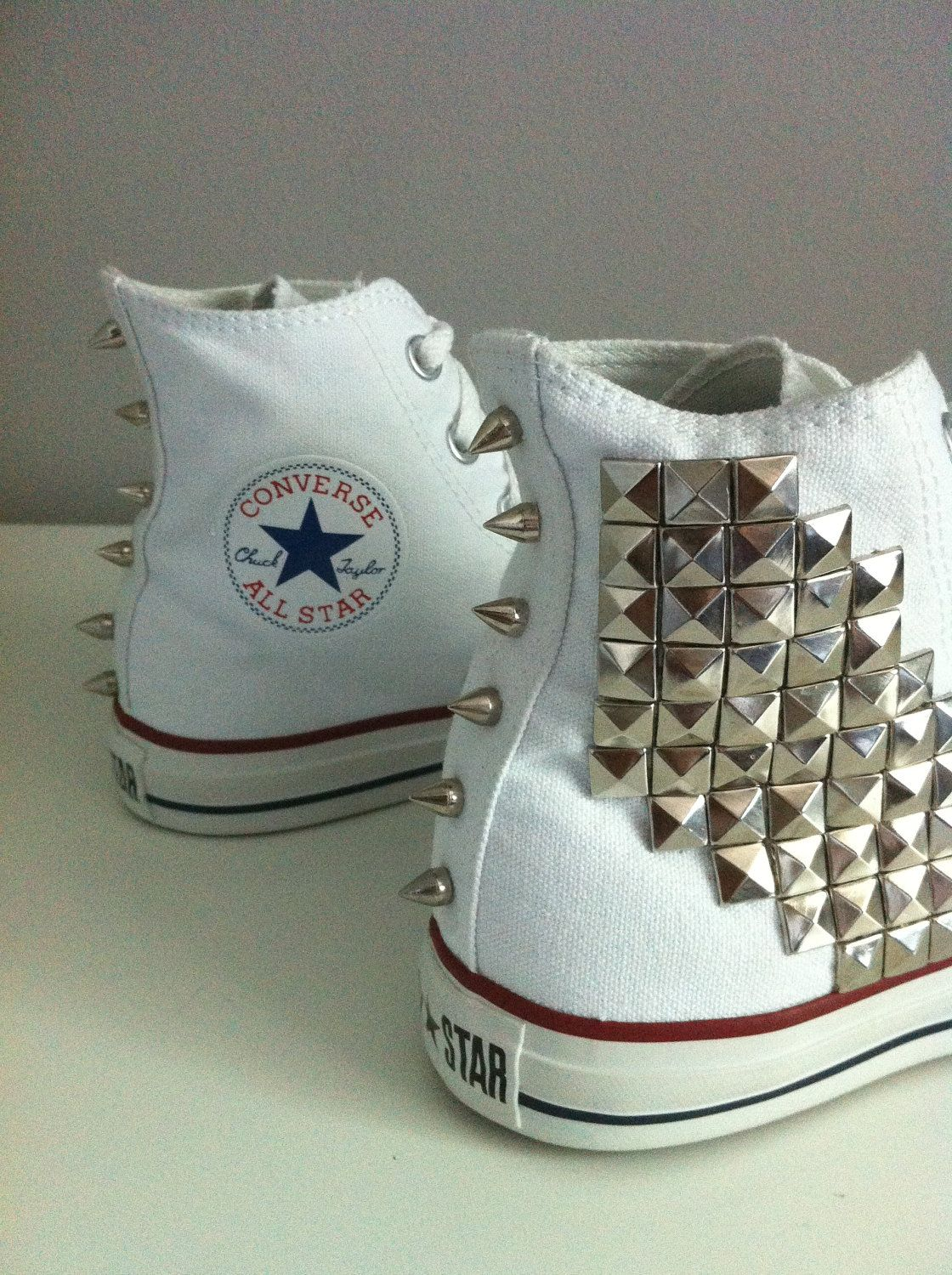 902d48f3e6c306 SALE Custom Made Any Colour Studded Hi-Top Converse All Stars With Spikes  On The Back. £70.00