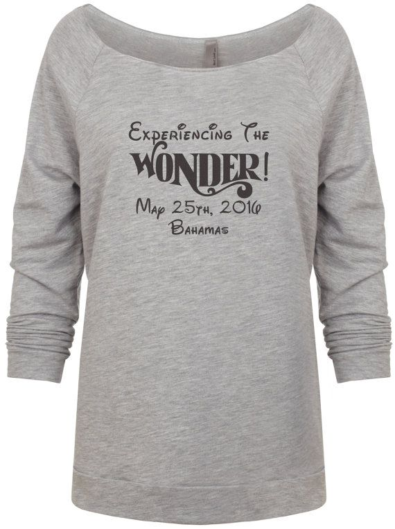This is such a fun shirt to make! The shirt is a 50% ring-spun combed cotton/50% polyester. Its a nice lightweight French terry raglan 3/4 sleeve shirt. It feels soft and light, perfect for mild weather. The date and location of the cruise are completely customizable. At time of checkout, put your cruise date and destination in the note to seller to have the shirt personalized with your cruise information. If you are interested in another color print, please message us and well see ...