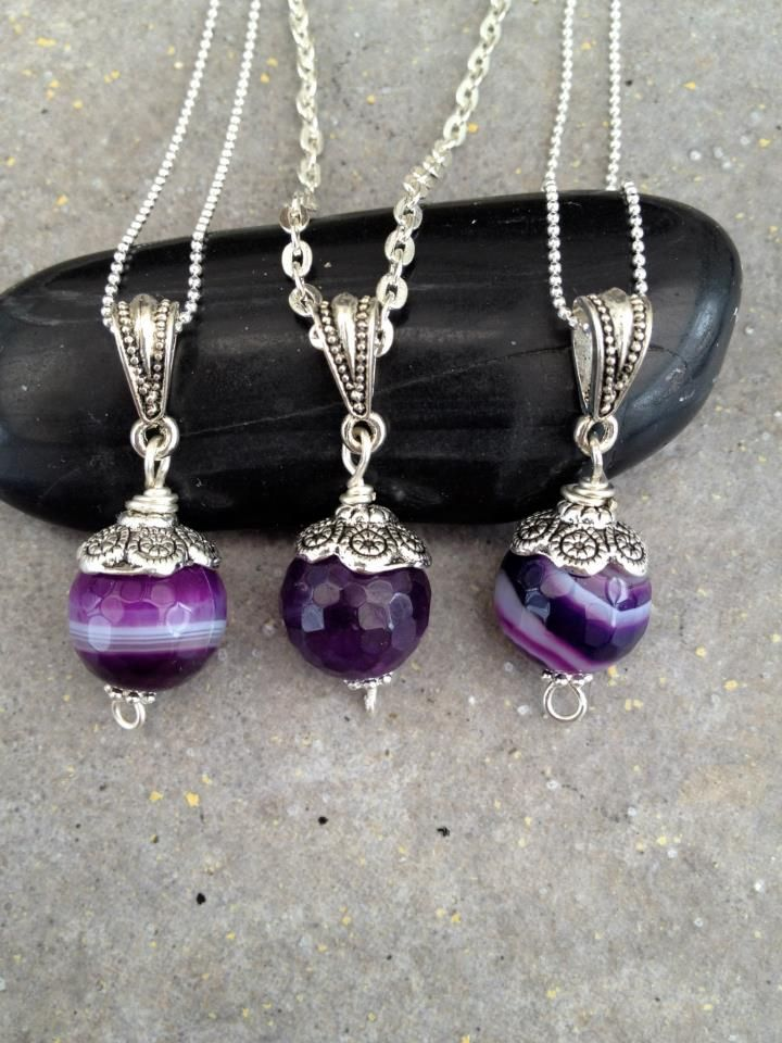 """""""Three Purple Mice"""" Agate Pendant Necklace   Custom Made Jewelry by Stones in Harmony"""