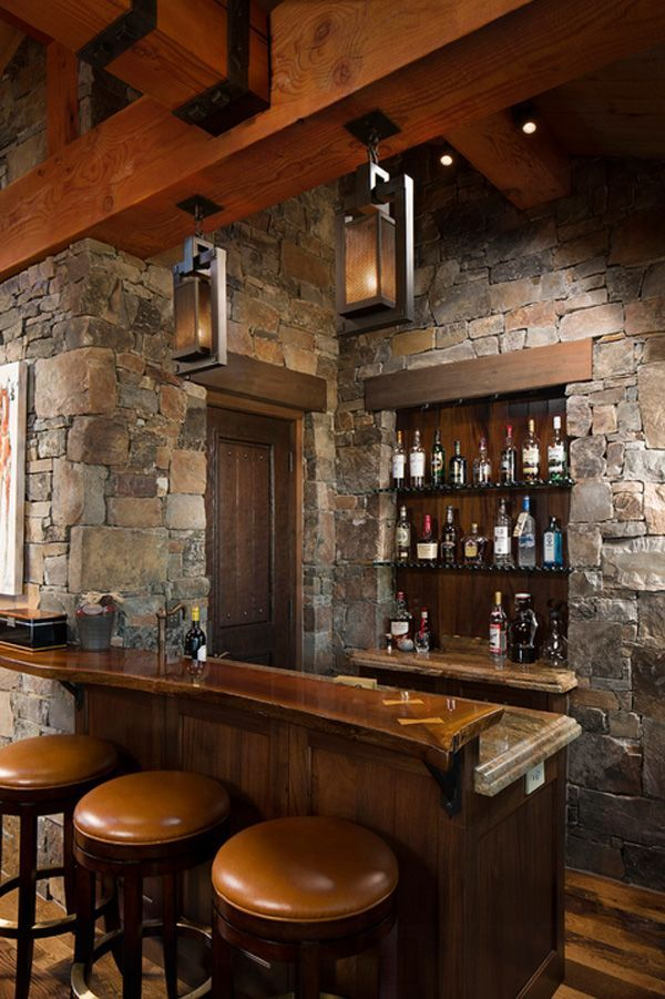 16 Awe Inspiring Rustic Home Bars For An Unforgettable Party: Stone Walls, Bar And Stone