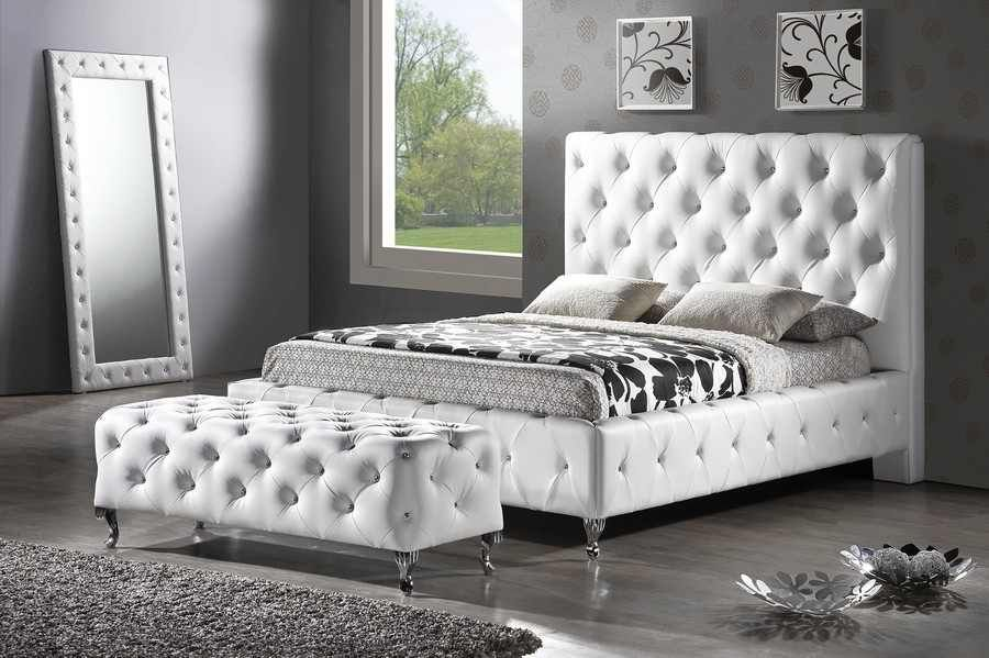 Tufted White Bed With Crystals Upholstered Platform Bed Modern