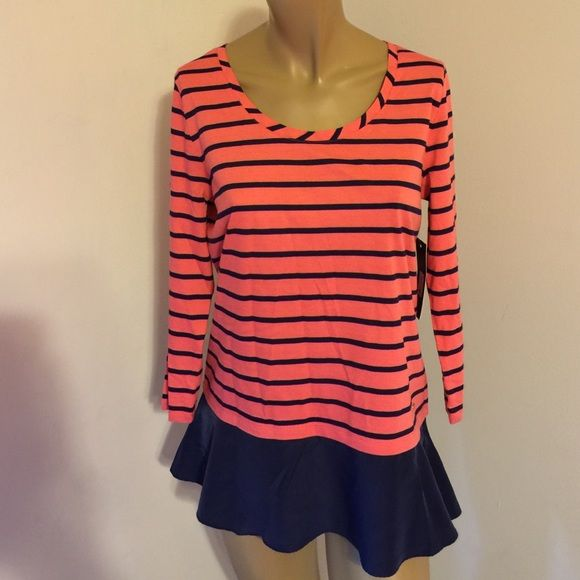 Tommy Hilfiger Sydney Striped Faux-Satin-Hem Top Tommy Hilfiger Sydney Striped Faux-Satin-Hem Top Size M Tommy Hilfiger Tops Blouses