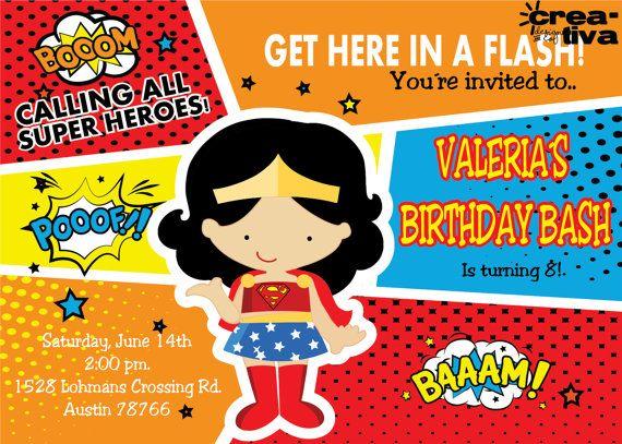 Wonder Woman invitation (Wonder Women) Dy printables FREE Tags Superwoman