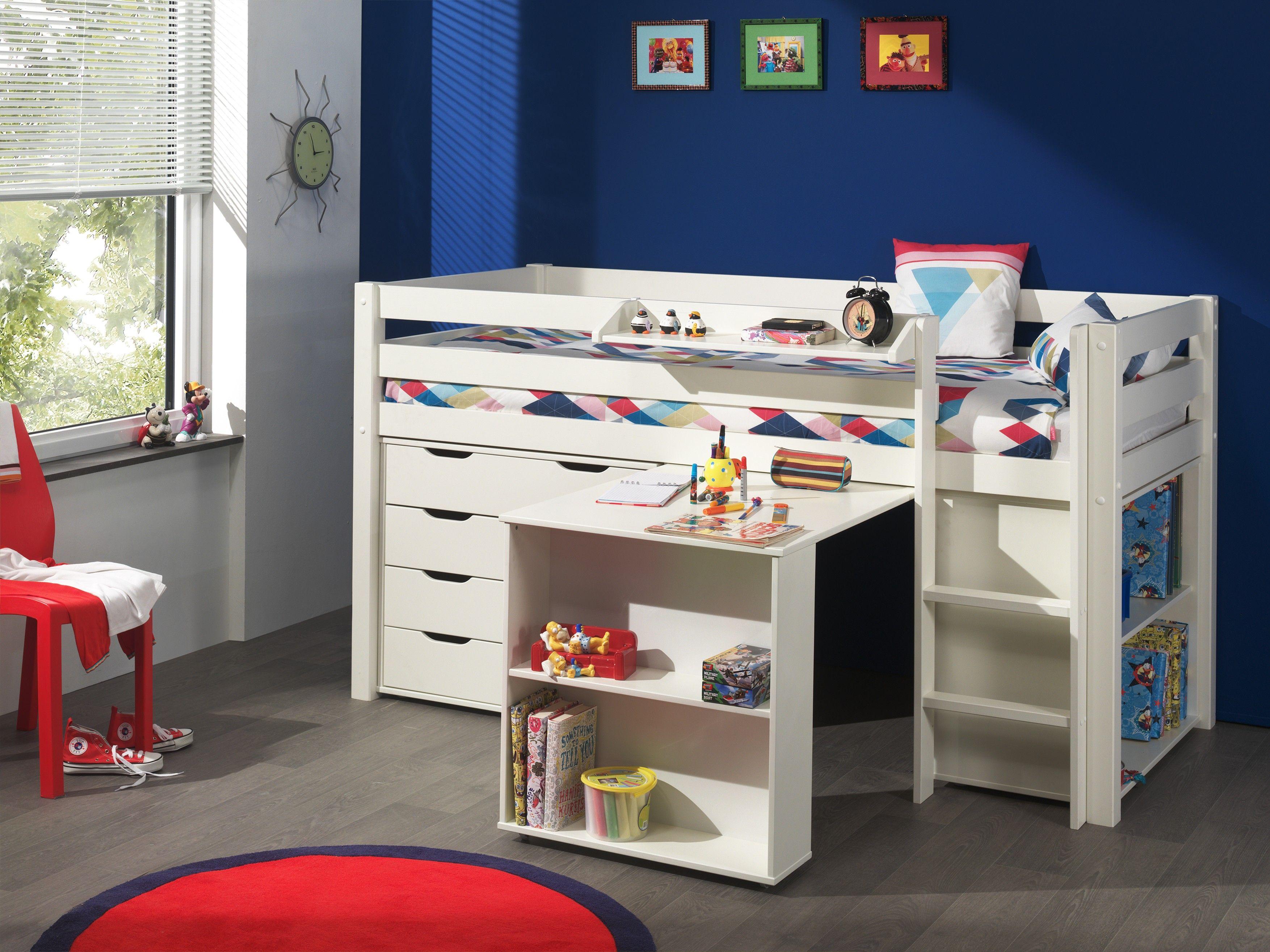 Halbhochbett Charlotte mit Schreibtisch, Bücherschrank und ...