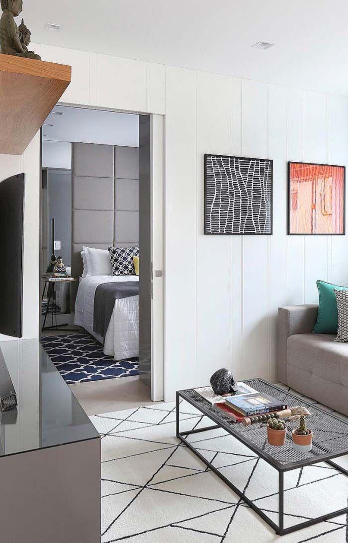 Porta de correr na decoraç u00e3o de apartamento pequeno IDEIAS DECORCAO Decoraç u00e3o apartamento  -> Decoração De Apartamento Simples E Bonito