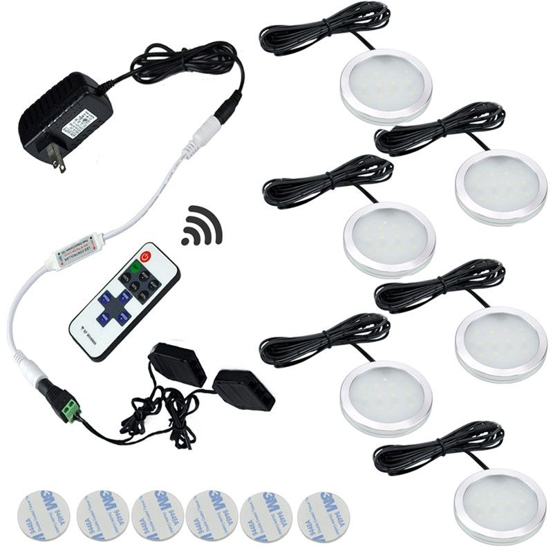Under Cabinet Led Lights 6 Lamps Set With Wireless Rf Remote Control For Kitchen Closet Counter