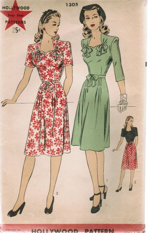 Hollywood 1305 1940s Dress Pattern Vintage Outfits Forties Fashion