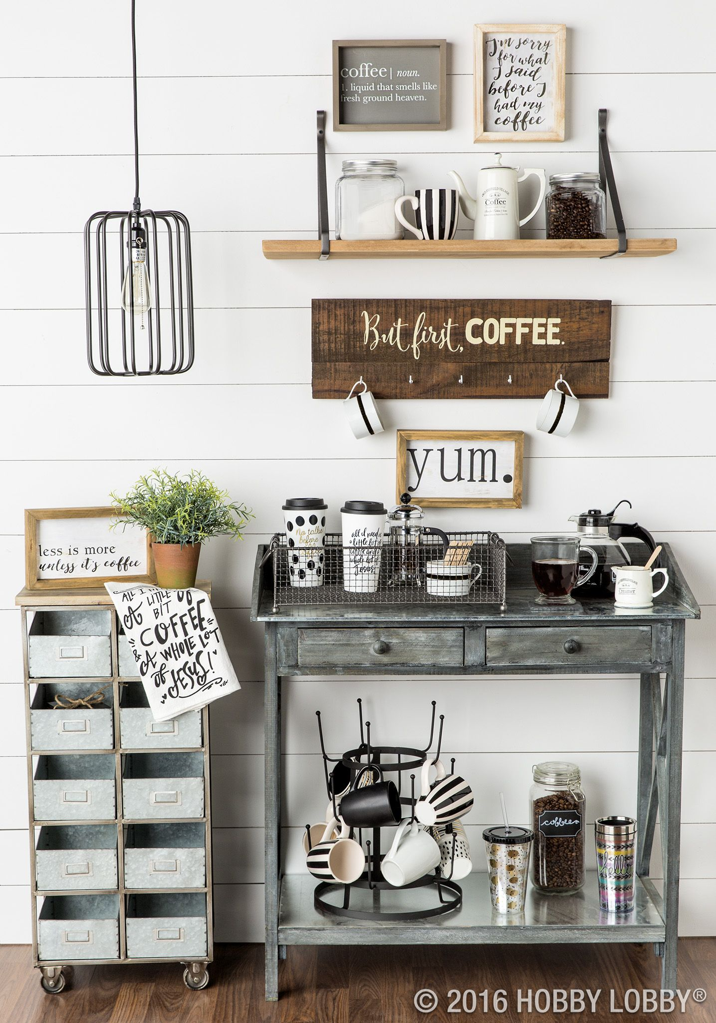 Need a caffeine boost? Heres a one-stop-coffee-shop you can enjoy in your jammies. Coffee Bar Idea.