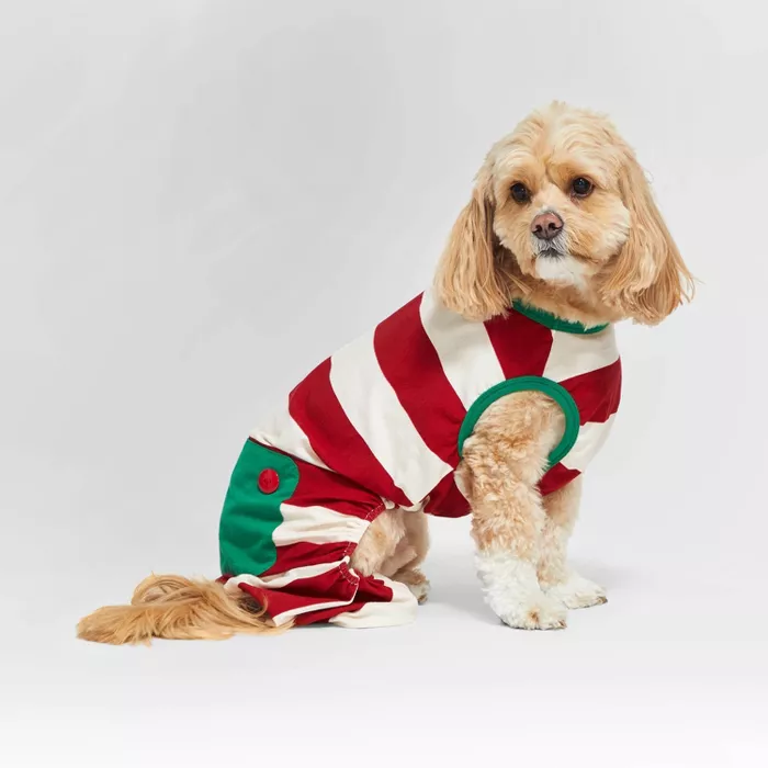 Holiday Striped Cat & Dog Pajamas Red