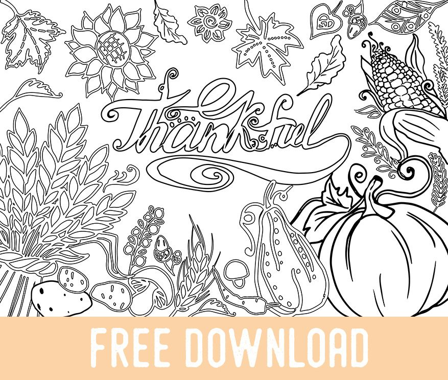 Free Thanksgiving Coloring Page - Adult Coloring Books ...