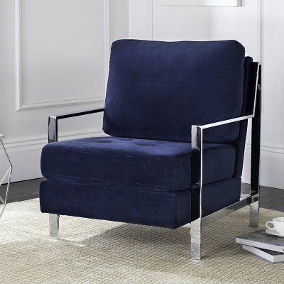 Safavieh Walden Modern Tufted Linen Accent Chair Navy Fox6279b