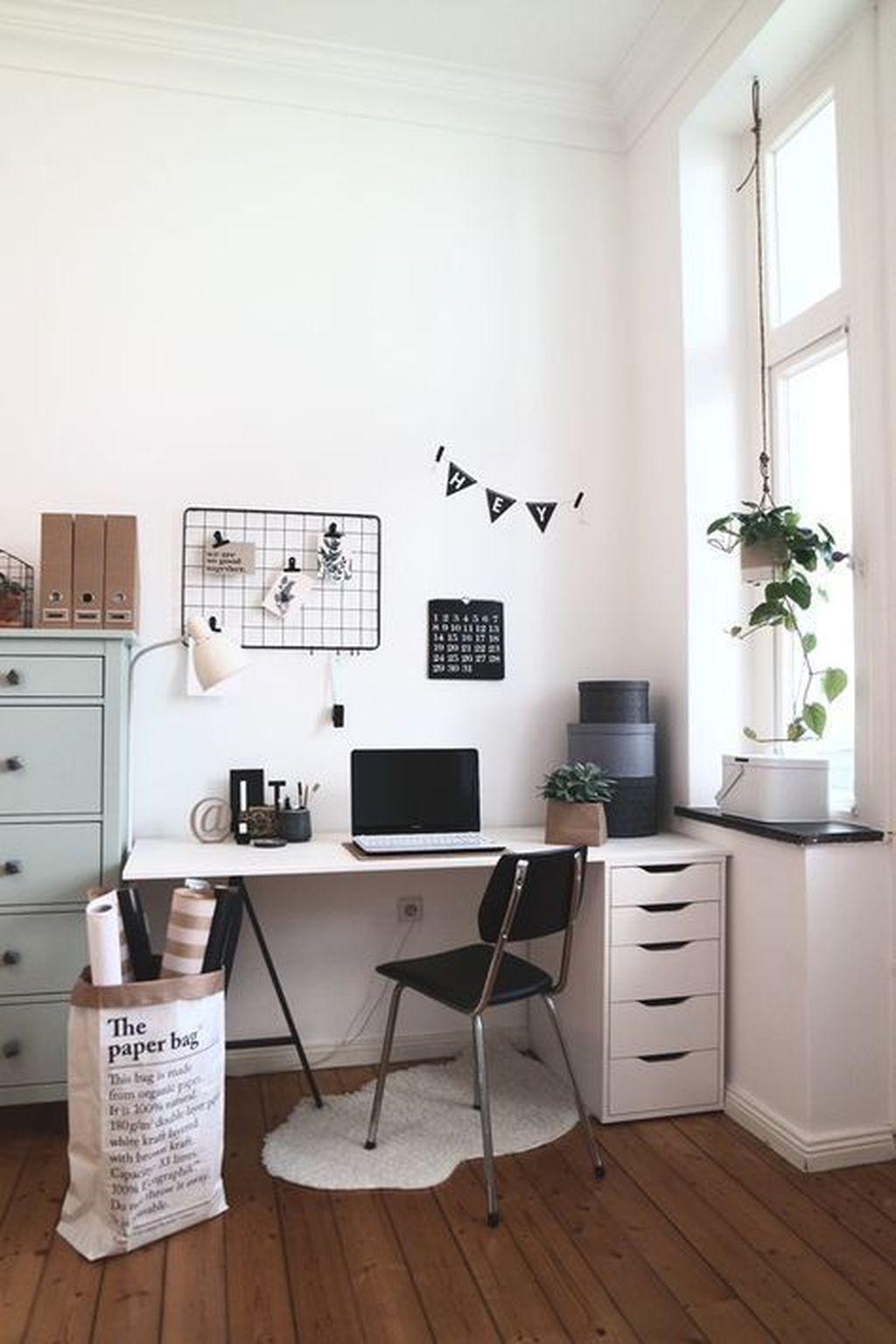 35 Elegant Scandinavian Interior Decorating Ideas For Small Spaces Cute Desk Decor Minimalist Living Room Home Office Design