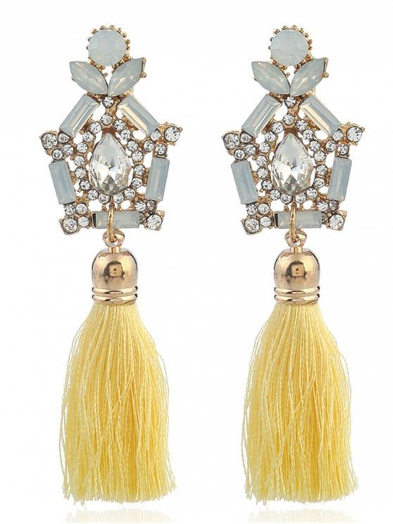 Faux Gem Rhinestone Teardrop Tassel Earrings - YELLOW
