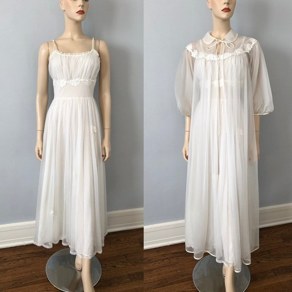 Lingerie Peignoir Set Vintage 1960s Gotham Maxi White Sheer Nylon Floral Wedding  Bridal Honeymoon Ni 6919d7238