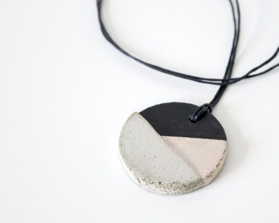 Long necklace Concrete pendant Concrete jewelry by KucoDesign