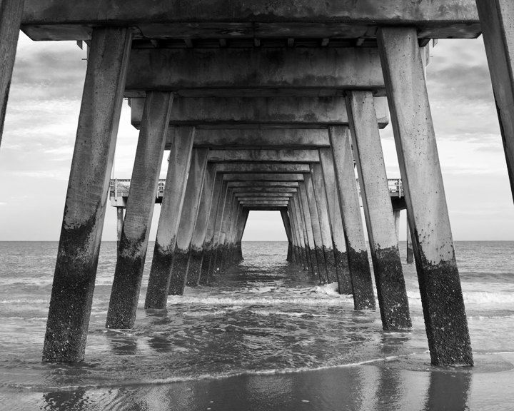 Pier tybee island beach photo print georgia black and white photography wall art 8x10 20 00