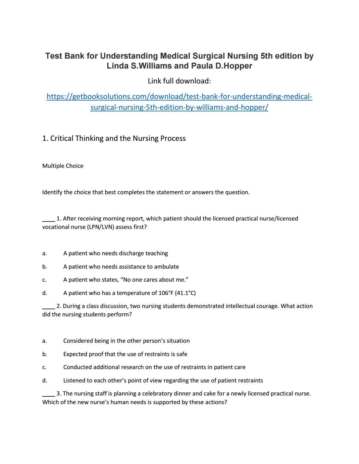 Test bank for understanding medical surgical nursing 5th edition by test bank for understanding medical surgical nursing 5th edition by williams and hopper fandeluxe Images
