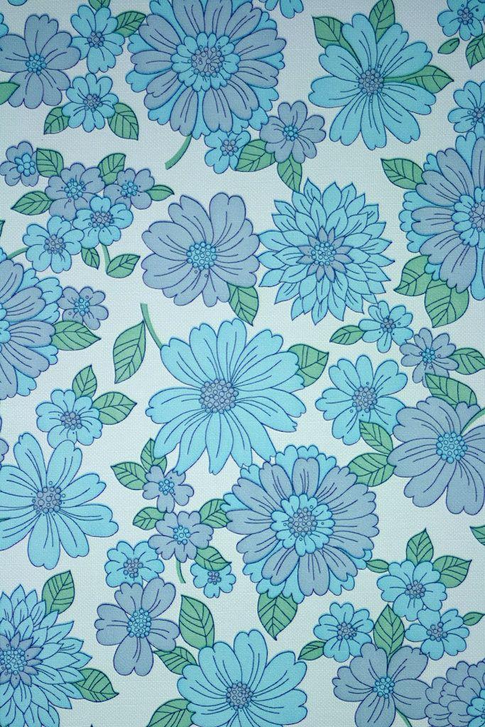 Blue Floral Vinyl Wallpaper Vintage Wallpaper