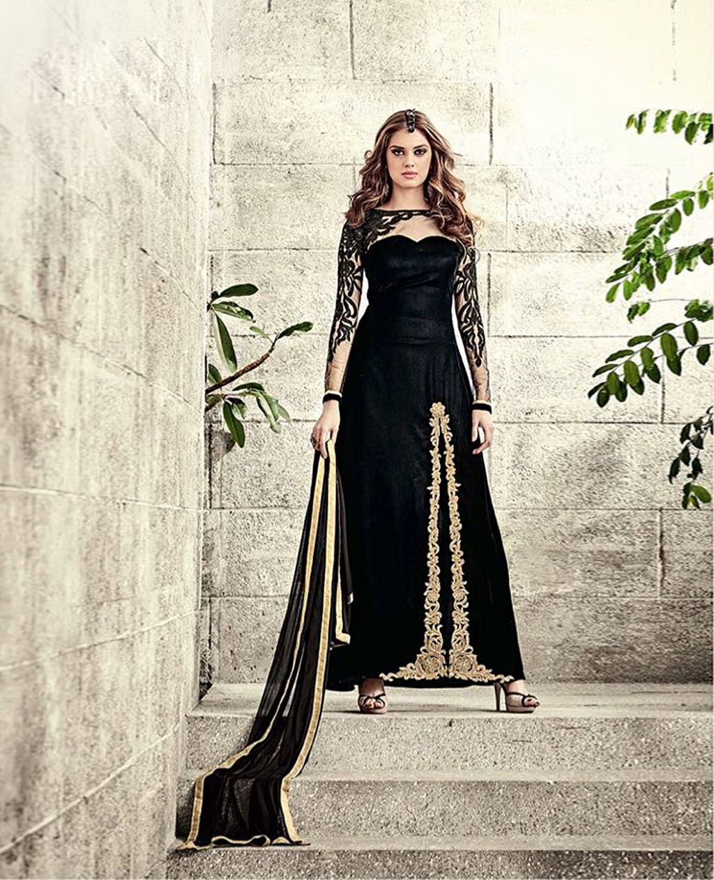 Black Velvet Long Party Wear Suit 78688 Party Wear Salwar Kameez Designer Dresses