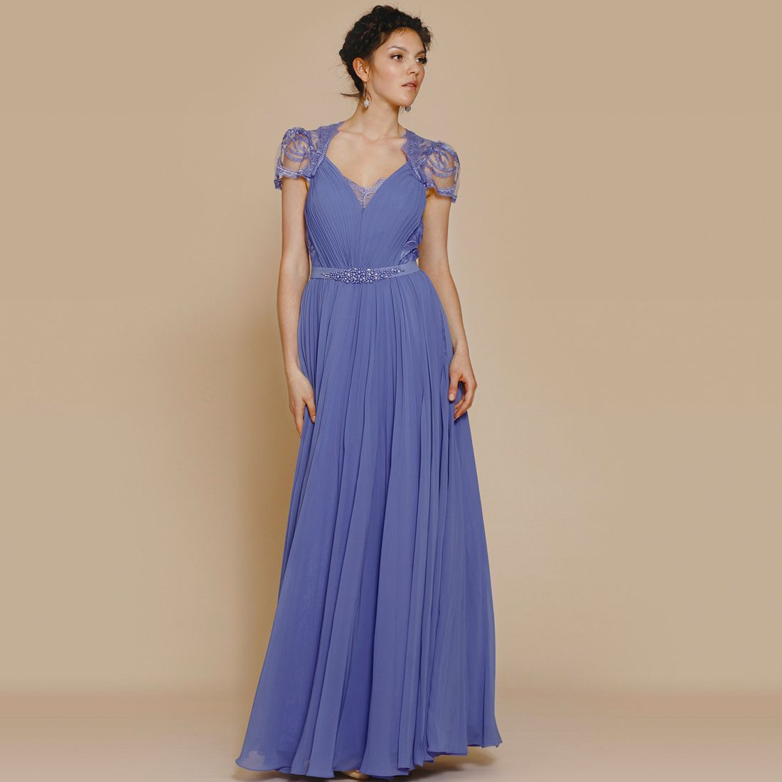 Fashionably Yours - Tania Cap Sleeve Maxi Dress In Blue Violet ...
