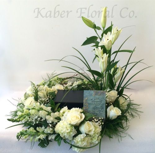 All White Urn Wreath With Plaque Funeral Flower Arrangements Funeral Flowers Funeral Floral Arrangements
