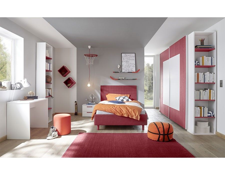 Chambre ado design blanc et rouge NATHEO 2 Chambre adulte design