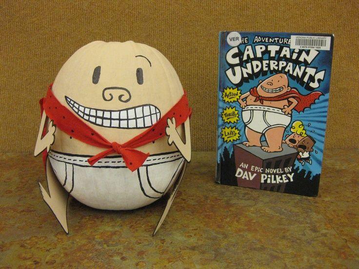 book pumpkinideas | Captain Underpants book character pumpkin. | School Ideas #captainunderpantscostume