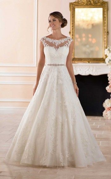 Stella York Traditional Ball Gown Wedding Dress With Bateau Lace Neckline And A Line Skirt At Blessings Shop Brighton East Sussex