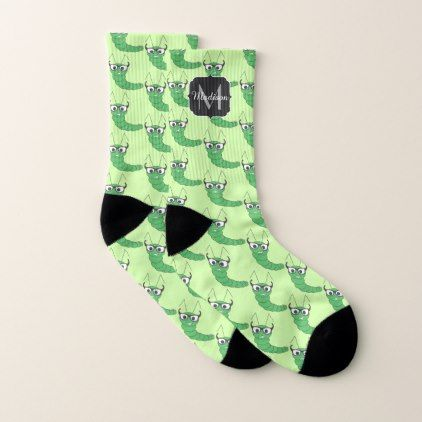 cool funny nerdy caterpillar with glasses pattern socks pattern
