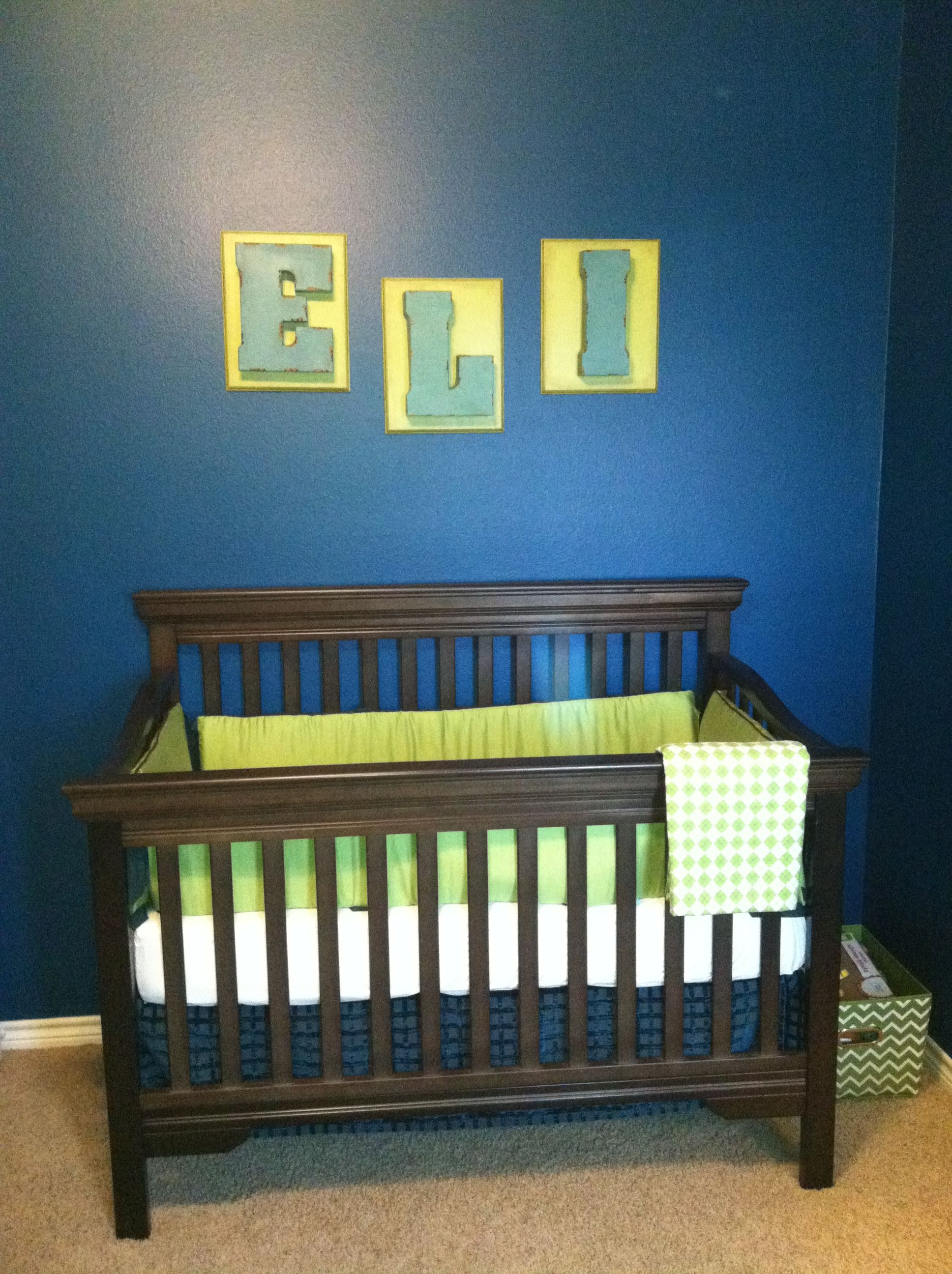 Baby boy nursery. Dark peacock blue with lime green and ...