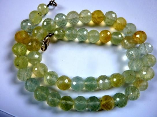 Prehnite faceted beads