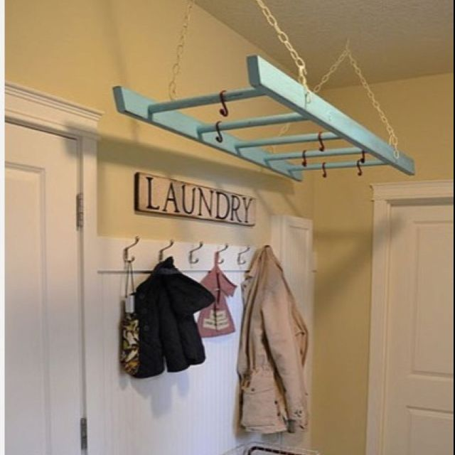 Hang Wooden Ladder From Ceiling Makes A Great Drying Rack In