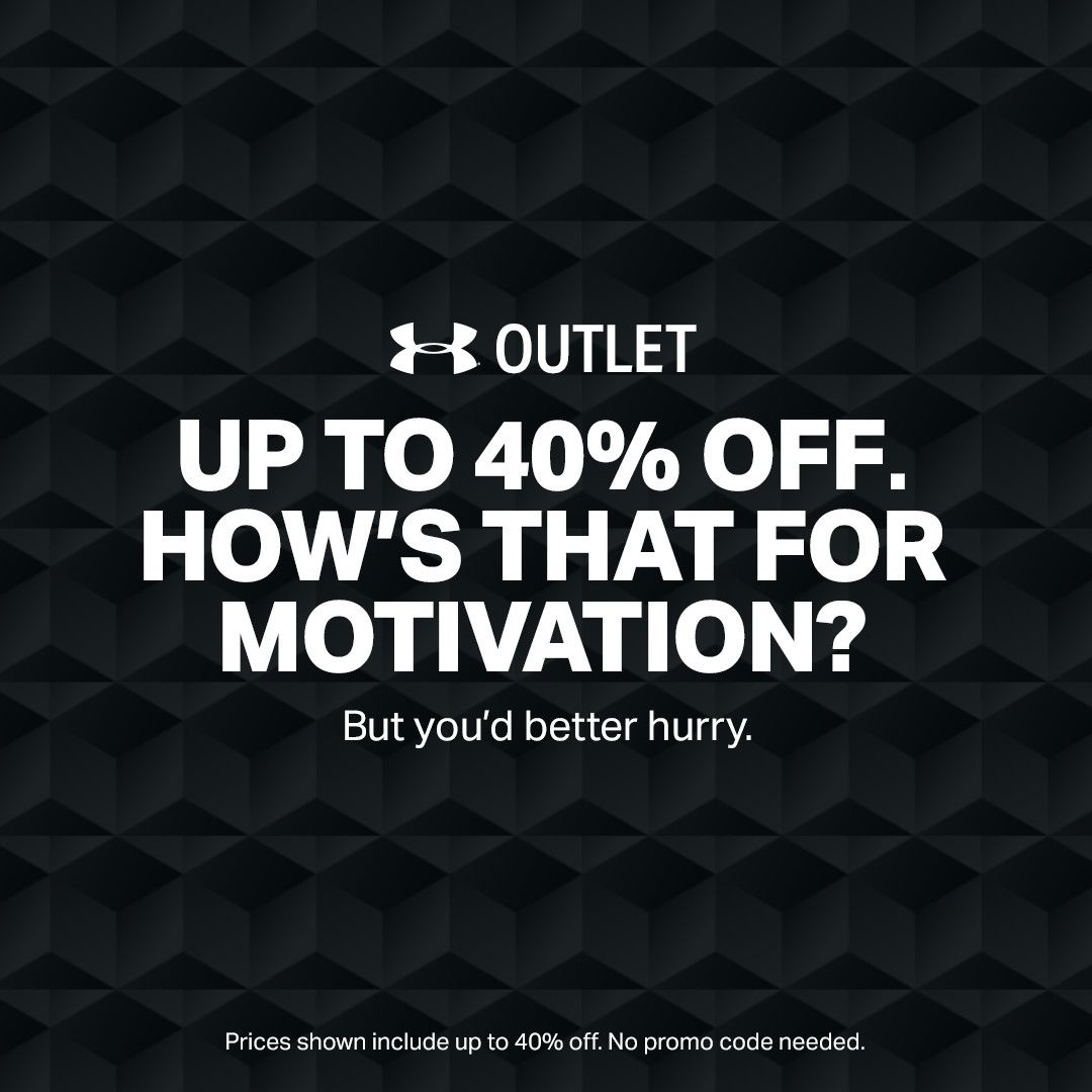 Up to 40% Off UA Outlet, plus, Extra 25% off with code