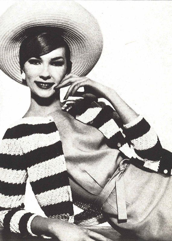 f7c42ee9f7b2de Rivera Cardigan • 1960s Knitting Striped French Sweater Top Pattern •  Vintage Vogue Knit • 1961 Wom