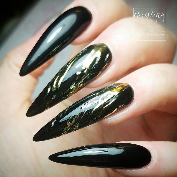 Modern Black And Gold Nail Designs For Women Nails C