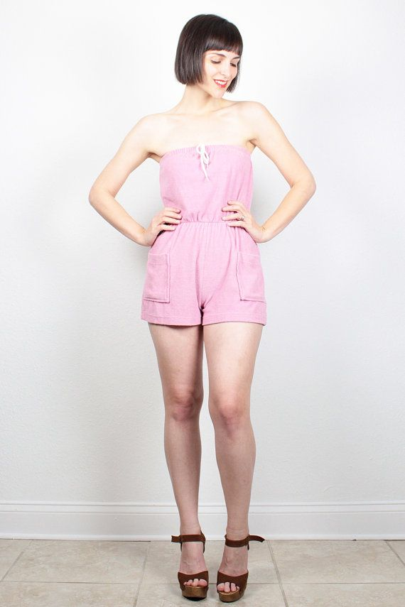 47a253d402 Vintage Pink Romper Strapless Playsuit Terry Cloth Tube Top Jumper 1970s  Textured Romper Shorts 70s Beach Mini Outfit XS S Extra Small  vintage   etsy  70s ...