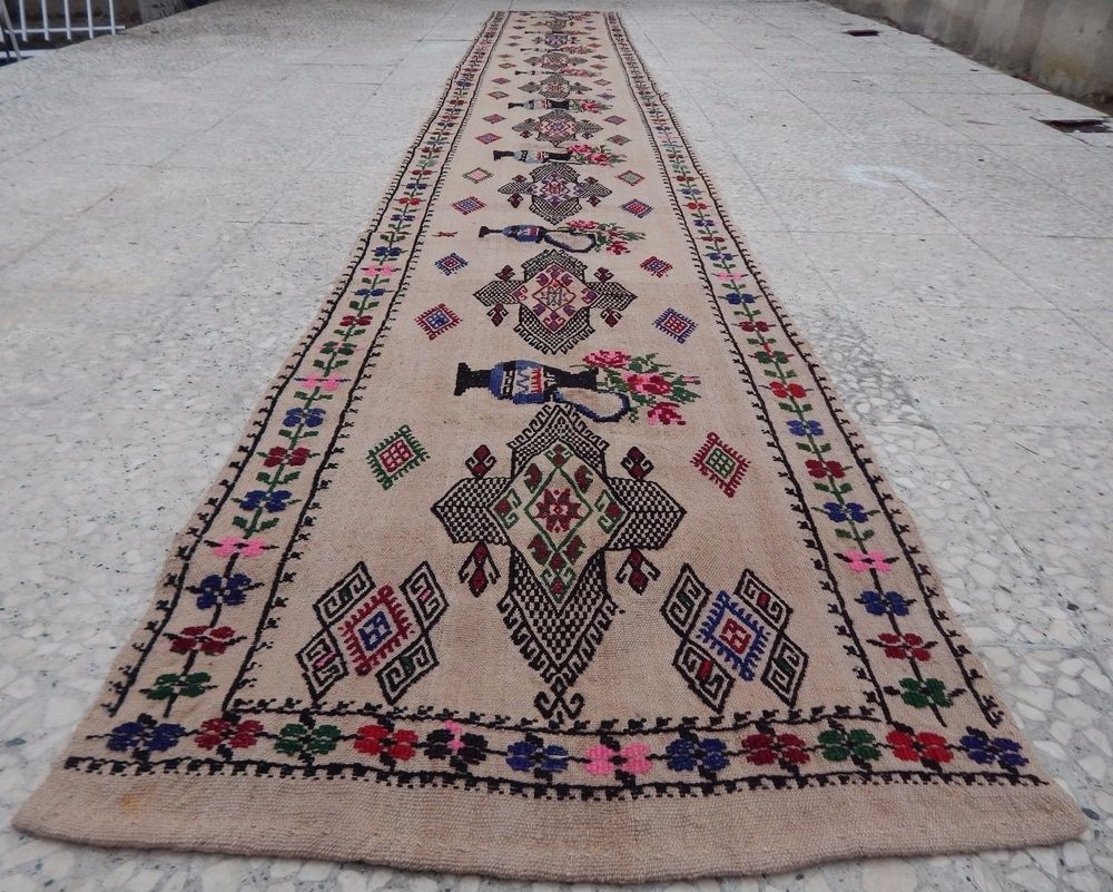 14 Foot Vintage Extra Long Narrow Handmade Unique Tribal Kilim Rug Hall Runner Turkish