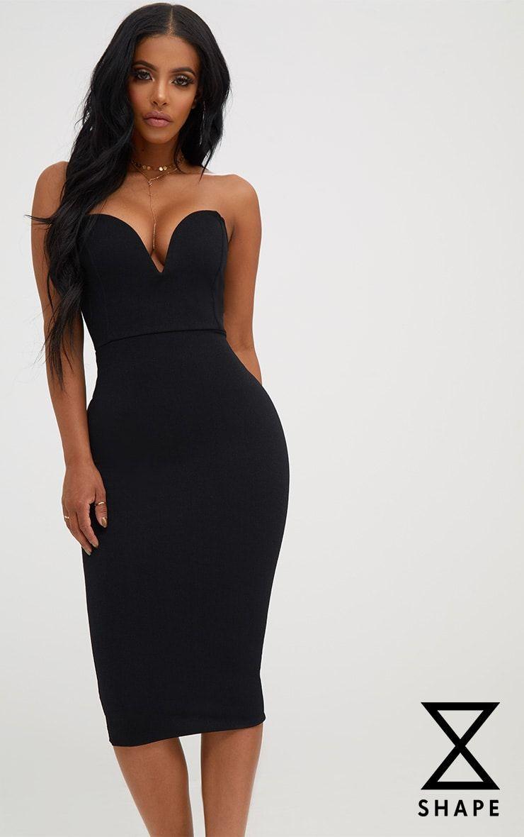 Shape Black Plunge Midi Dress  1c3bfc280
