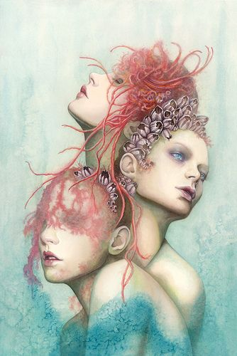 The amazing new work for Wunderkammer, Sea Change - 24x36 oils on mixed media by Redd Walitzki