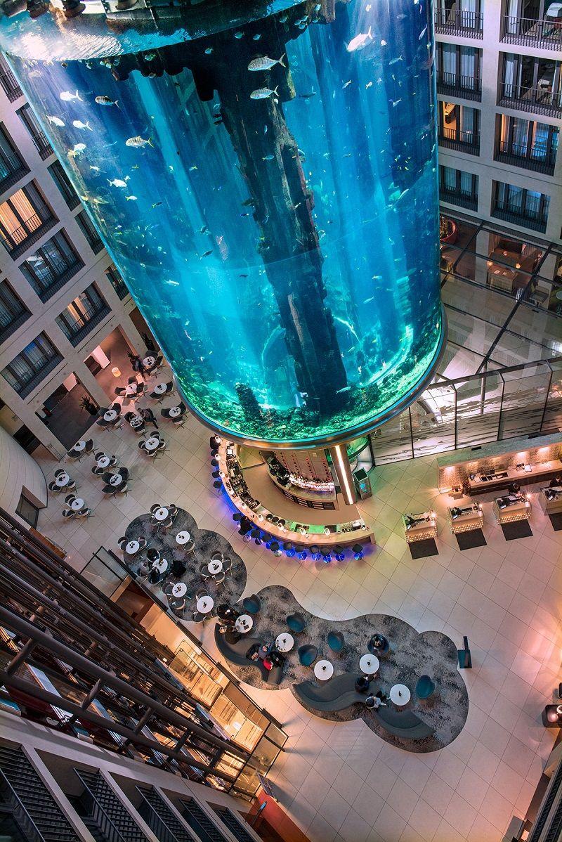 Designmk Architecture Hotel Hotelaquarium Theblueplanet Aquarium Aquadom Lobby Berlin With Images Underwater Restaurant Berlin Hotel Berlin