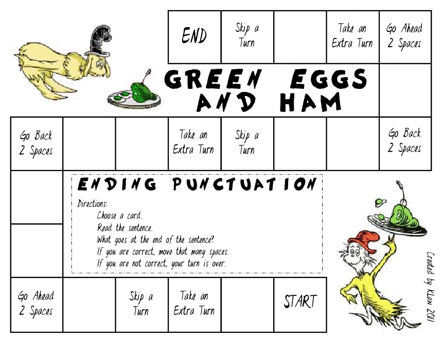First Grade a la Carte punctuation – Green Eggs and Ham Worksheets