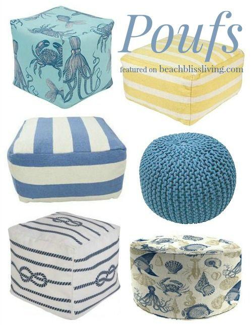Floor Pillows & Poufs | Poufs, Floor pillows and Coastal