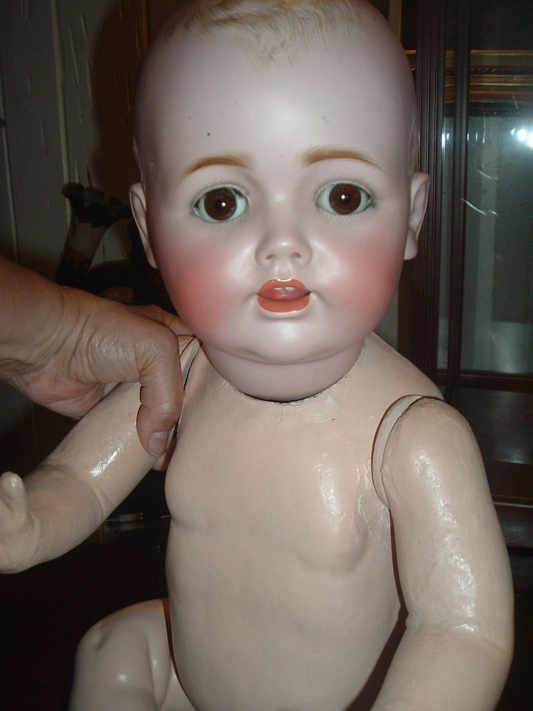 "Large 25"" Toddler Antique Character Bisque Doll"