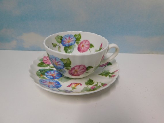 Vintage Embassy Ware Fondeville England Morning Glory Flowers Etsy Tea Cups Morning Glory Flowers Morning Glory