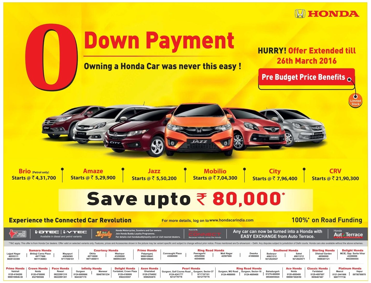 0 Down Car >> Never Before Offer On Honda Cars Zero Down Payment On