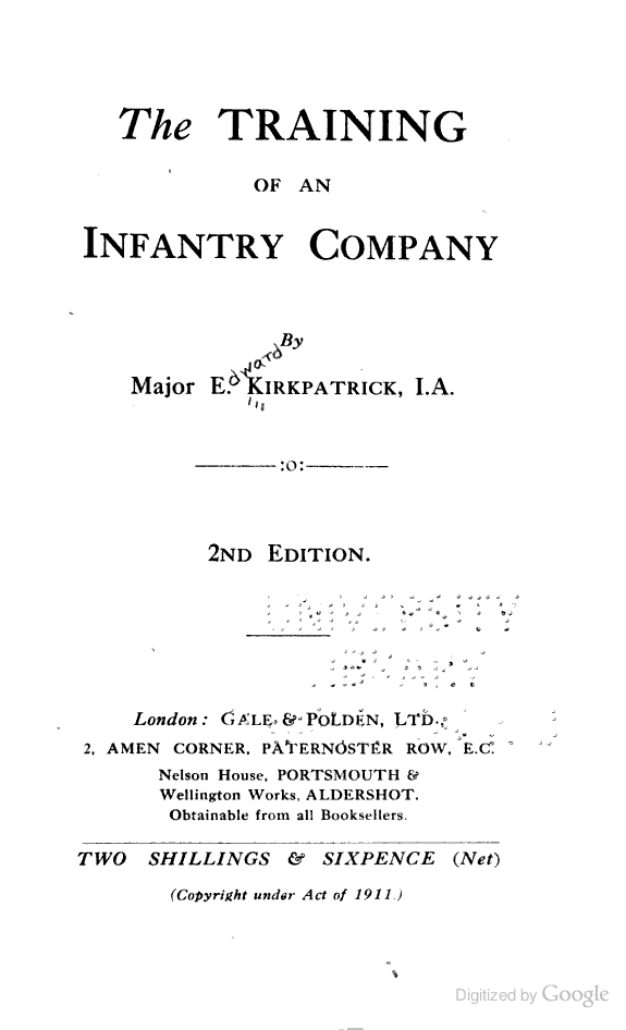 The Training of an Infantry Company - 1913/1914 | British