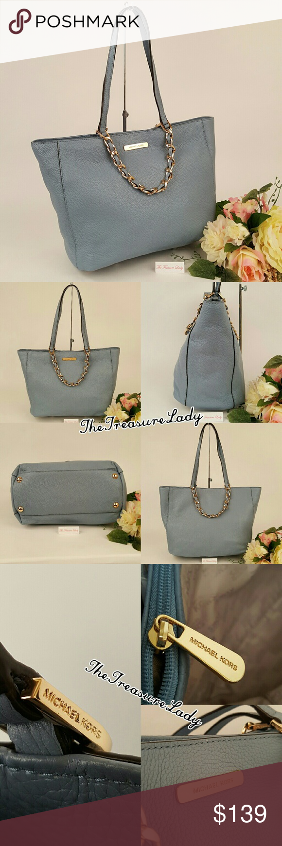 5e897a84ba01 Michael Kors Harper Blue Tote Leather Purse bag *Authentic *NWT *Style #  35H5GRPT7E