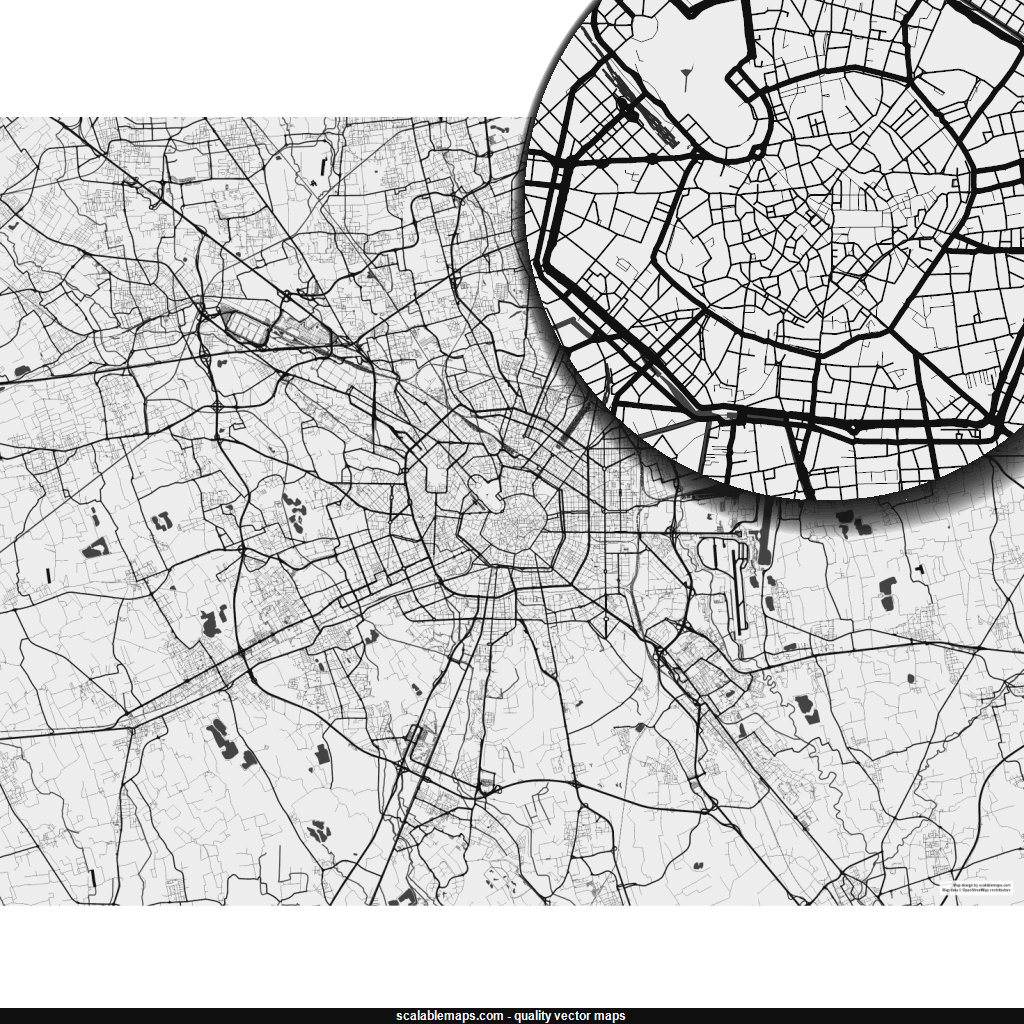 Vector map of Milano (bwnolabels theme) in AI and SVG